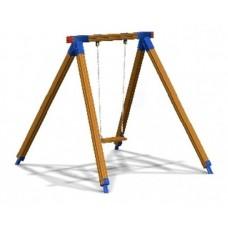 Дитяча гойдалка одинарна на дерев'яних стойках на ланцюгах (DIO314)